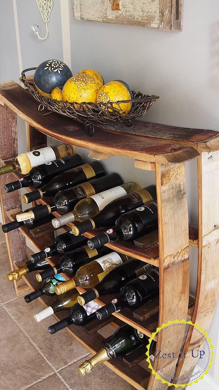 Wine barrel stave rack