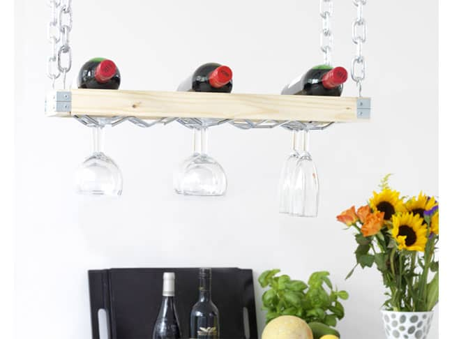 Wood and chain hanging wine rack