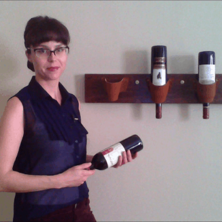 Wood and leather upside down wine rack