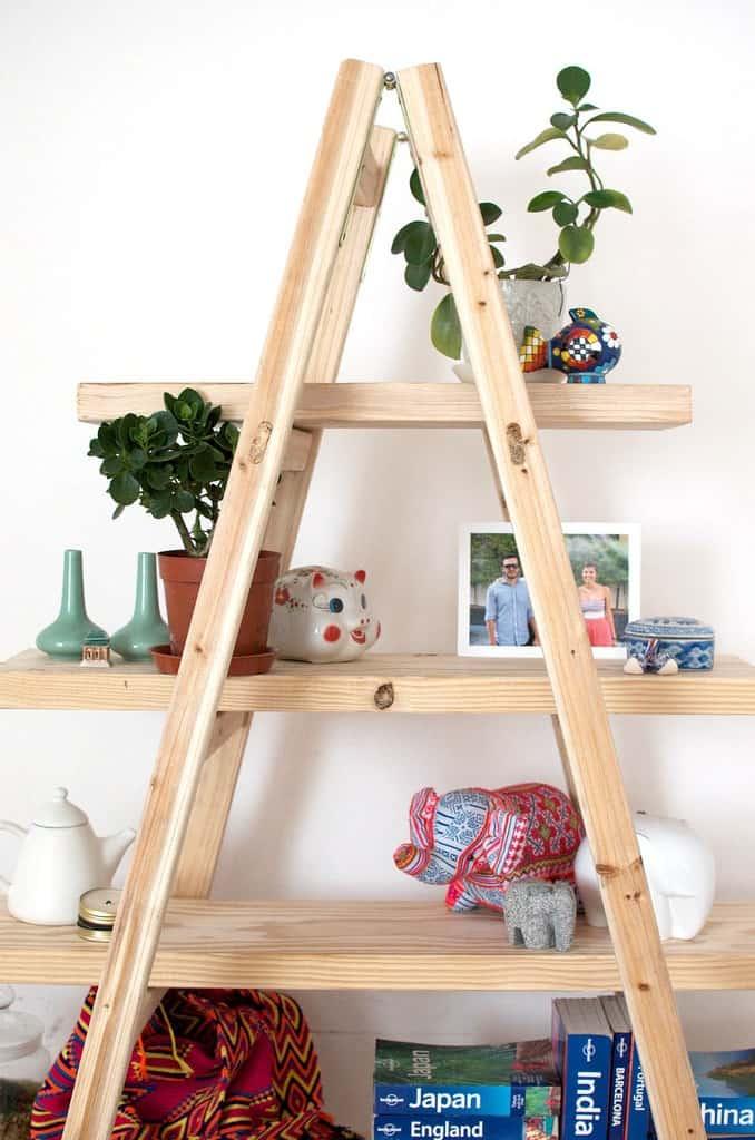 Wooden ladder style bookshelf
