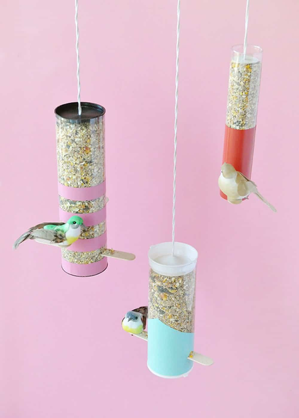 Color blocked bird feeder diy