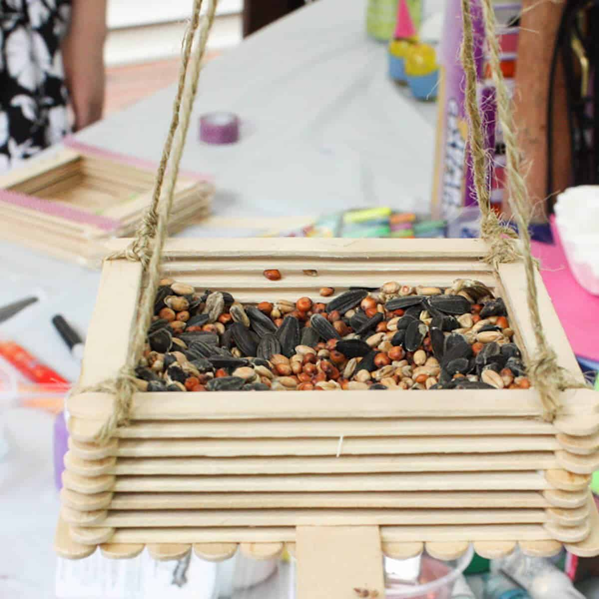 Craft stick birdfeeder diy