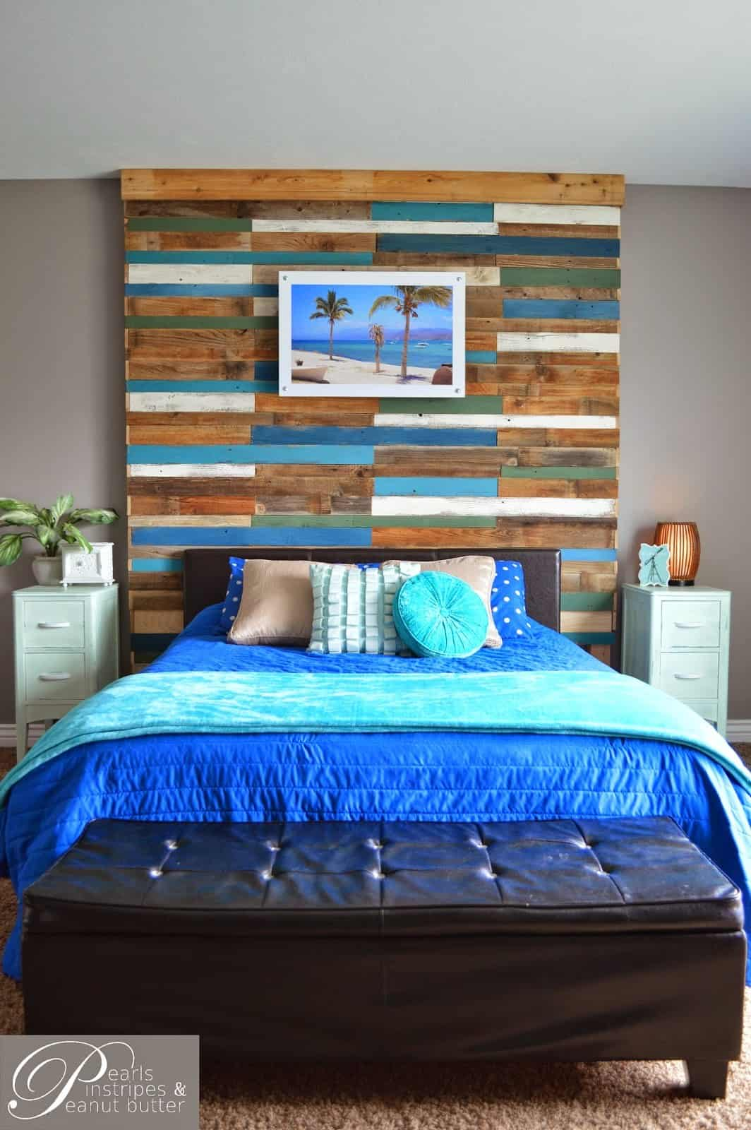 Diy colorful wooden headboard