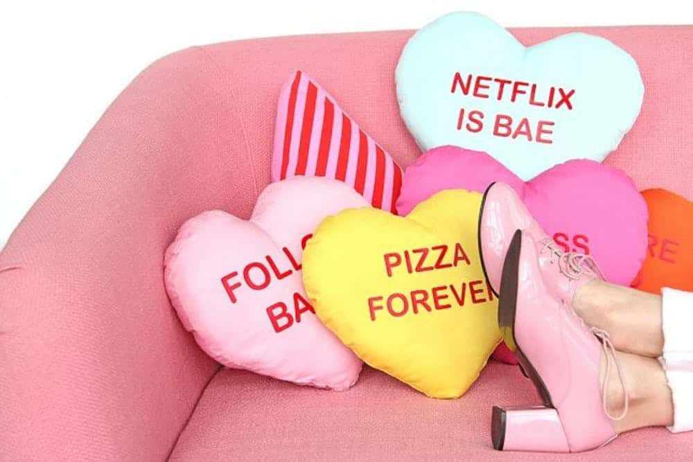 Diy conversation heart pillow