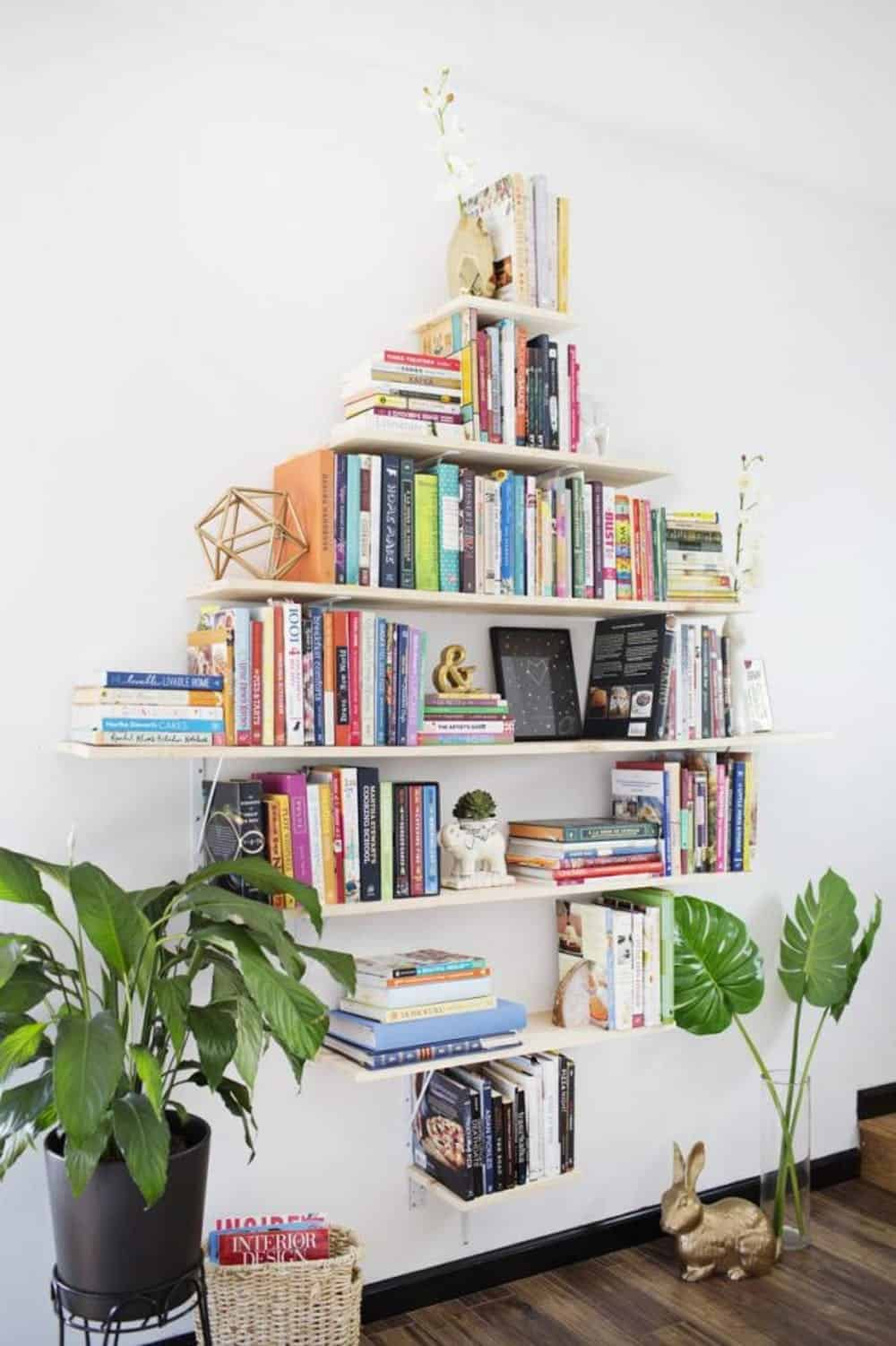 Diy diamond shaped bookshelf