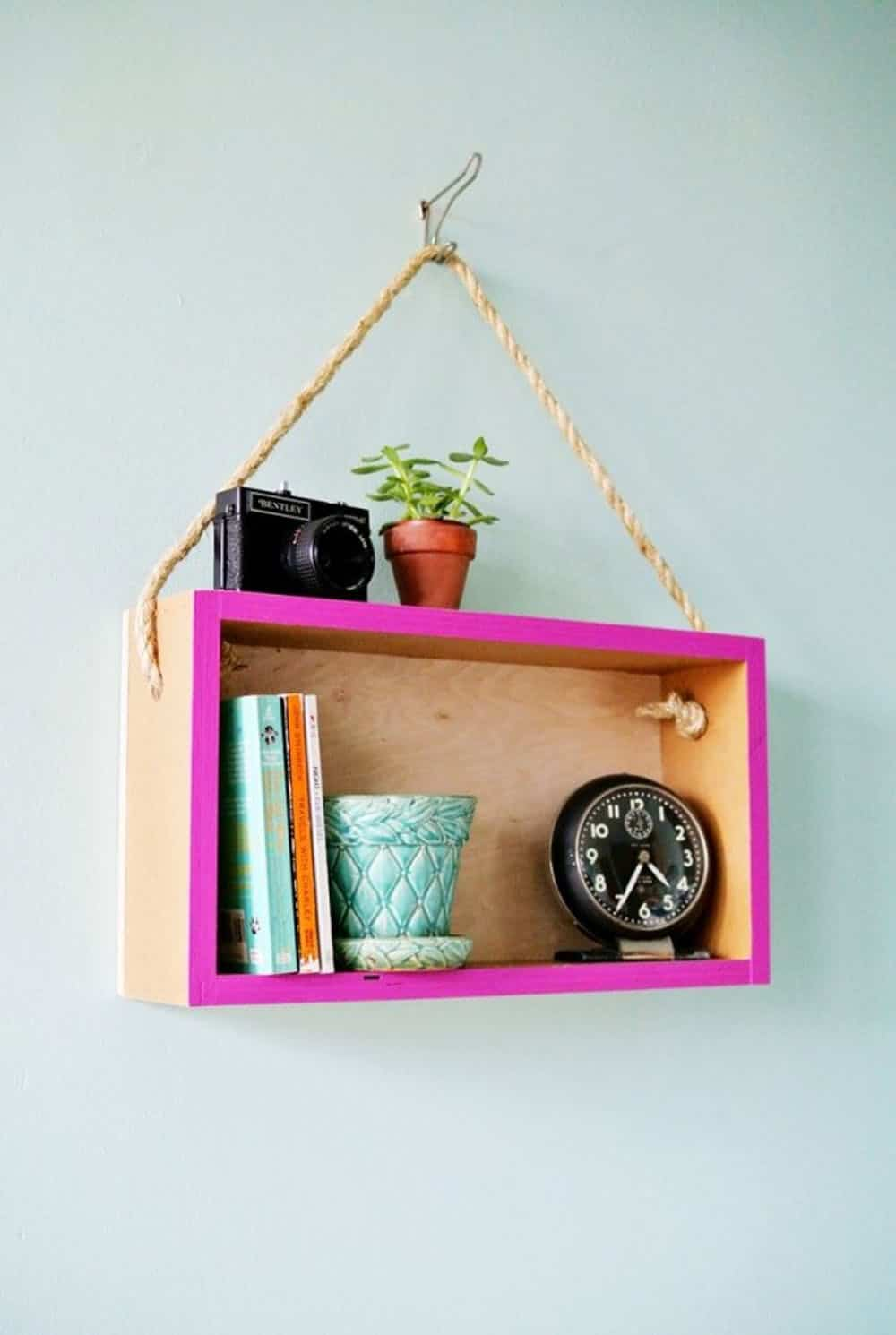 Diy hanging box shelf