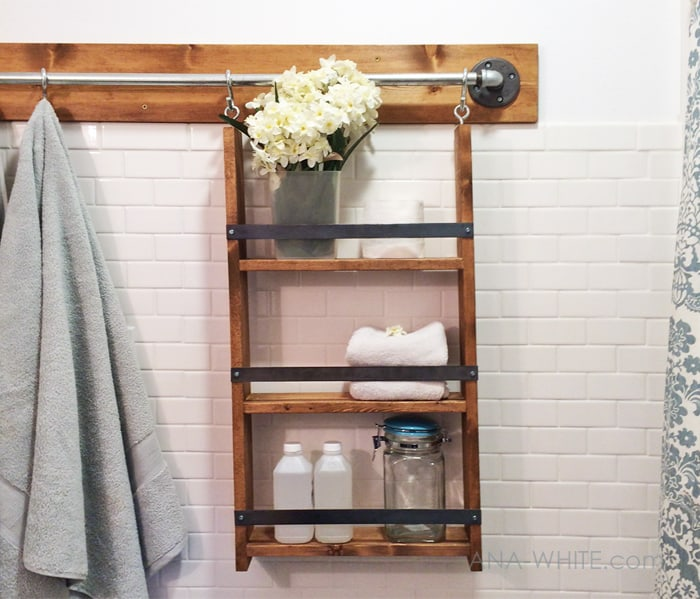Diy hanging wooden industrial wall unit