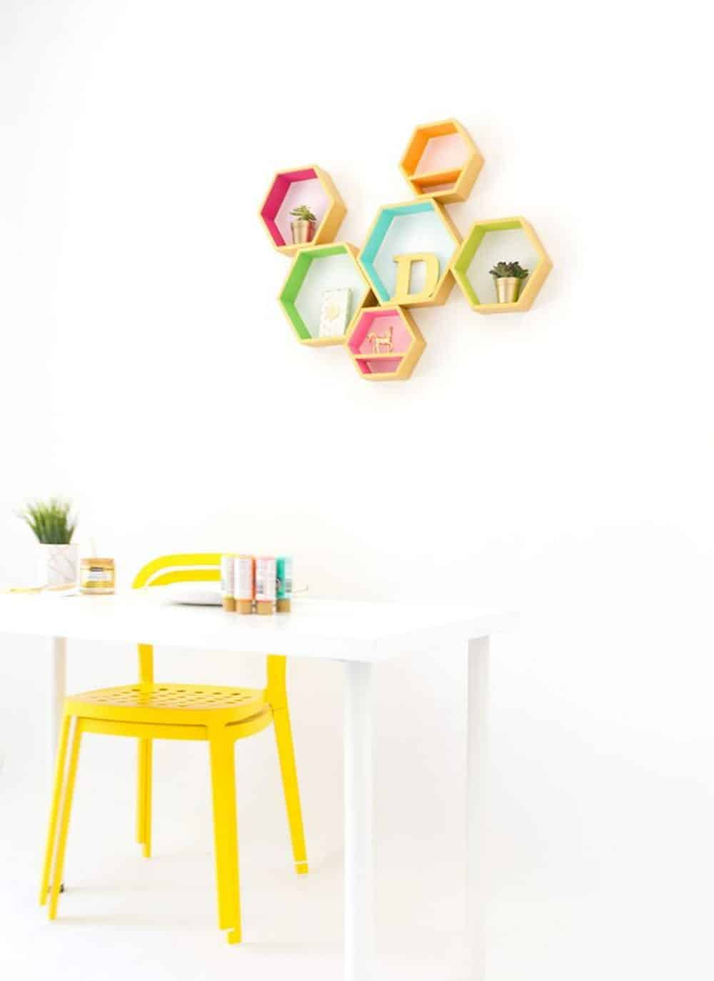 Diy hexagon wood shelves