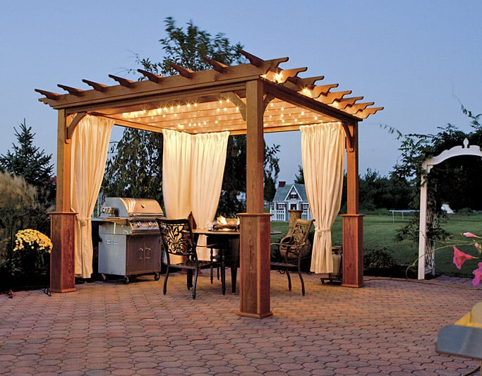 Diy pergola with fabric