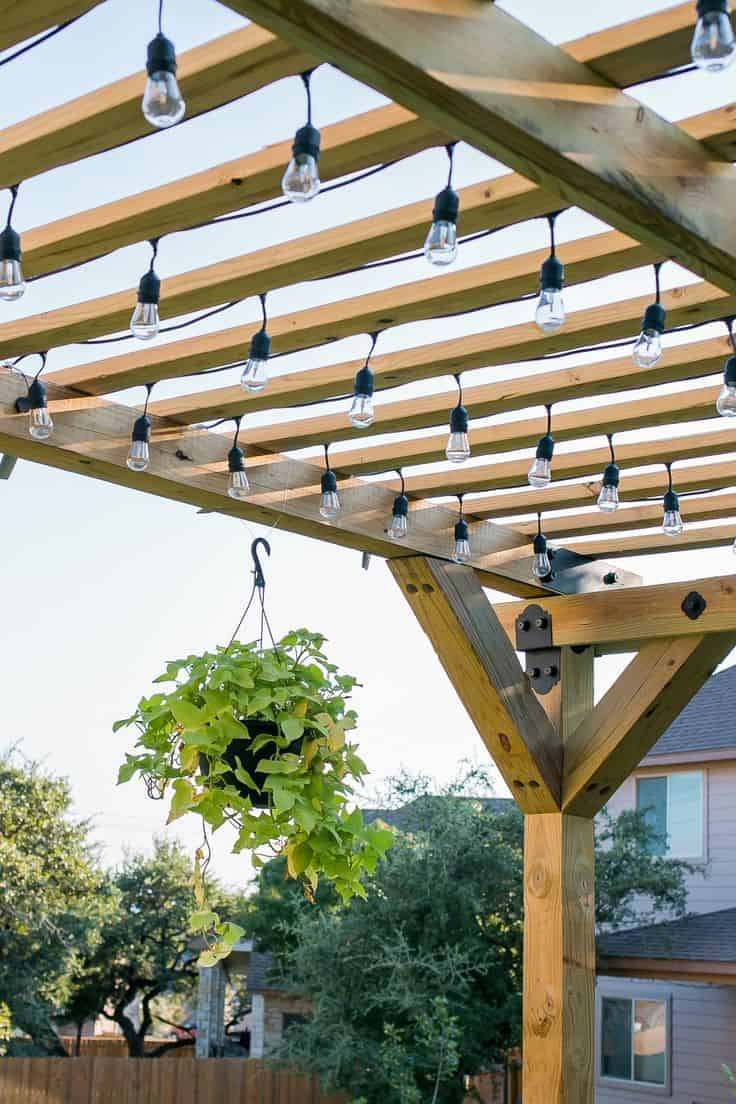 Diy pergola with lights