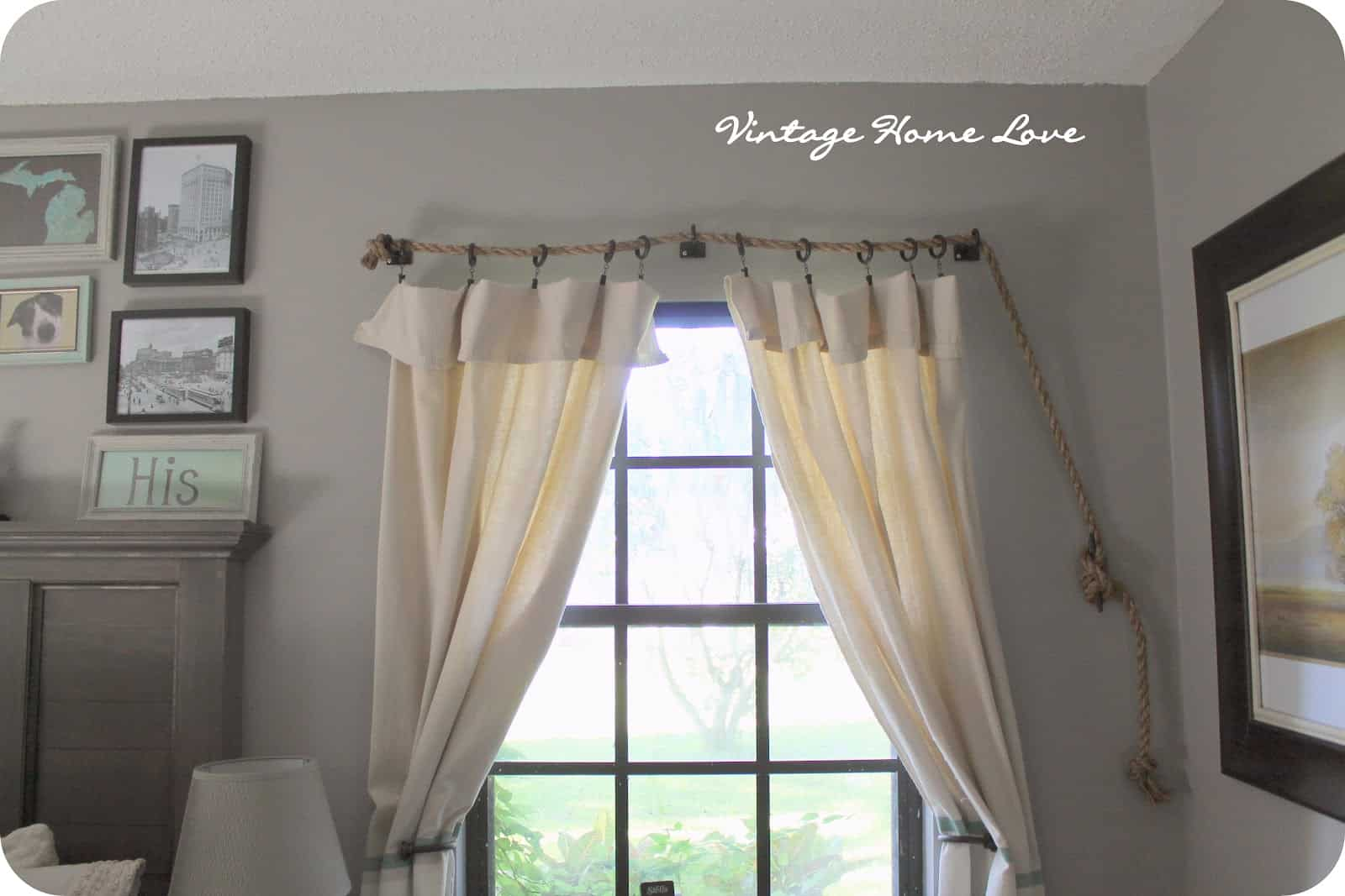 Diy rope curtain rod
