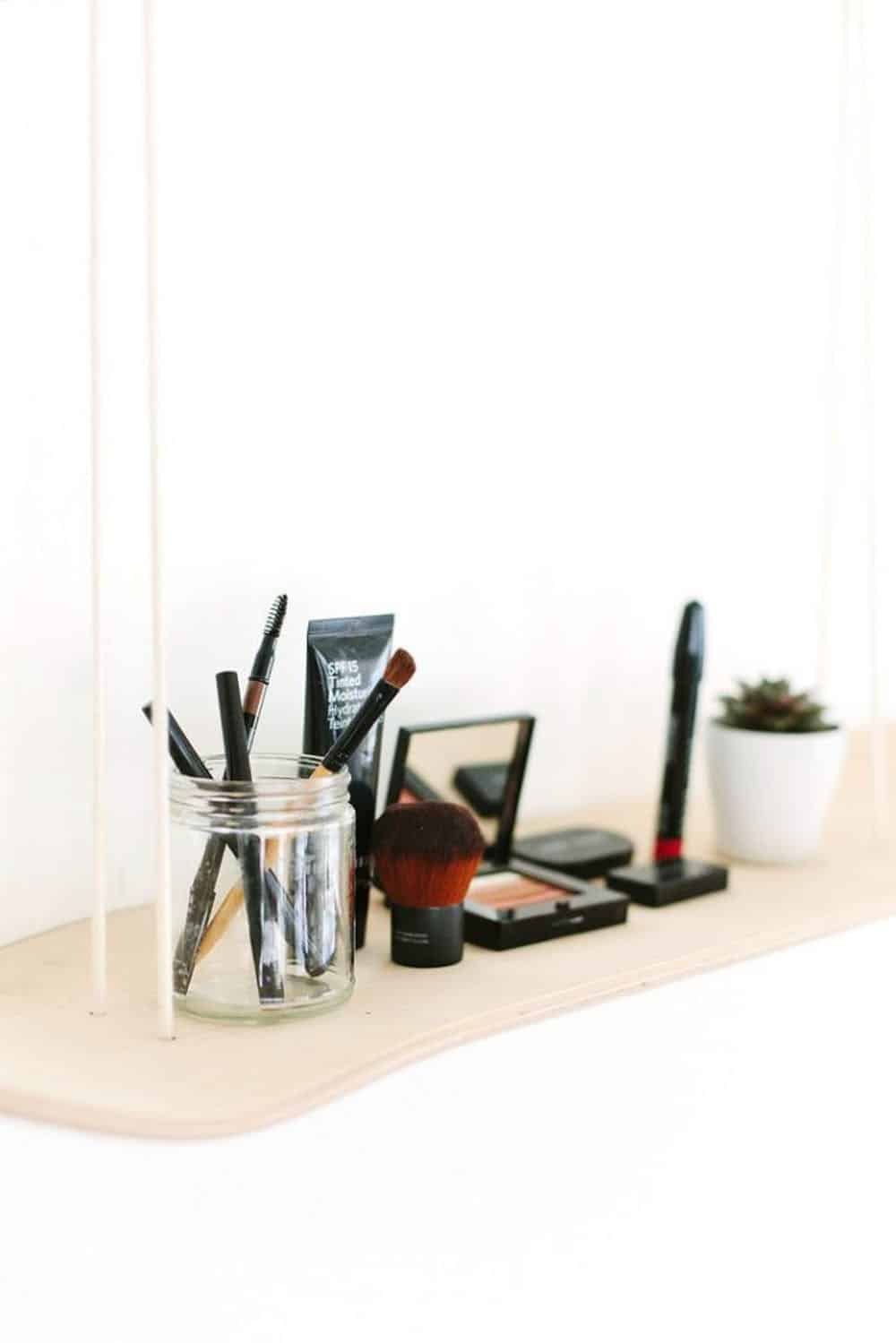 Diy skateboard makeup shelf