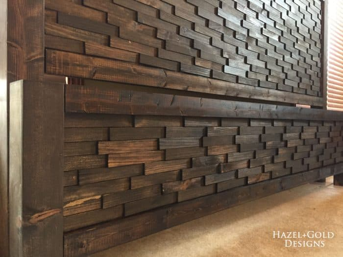 Diy textured wooden headboard