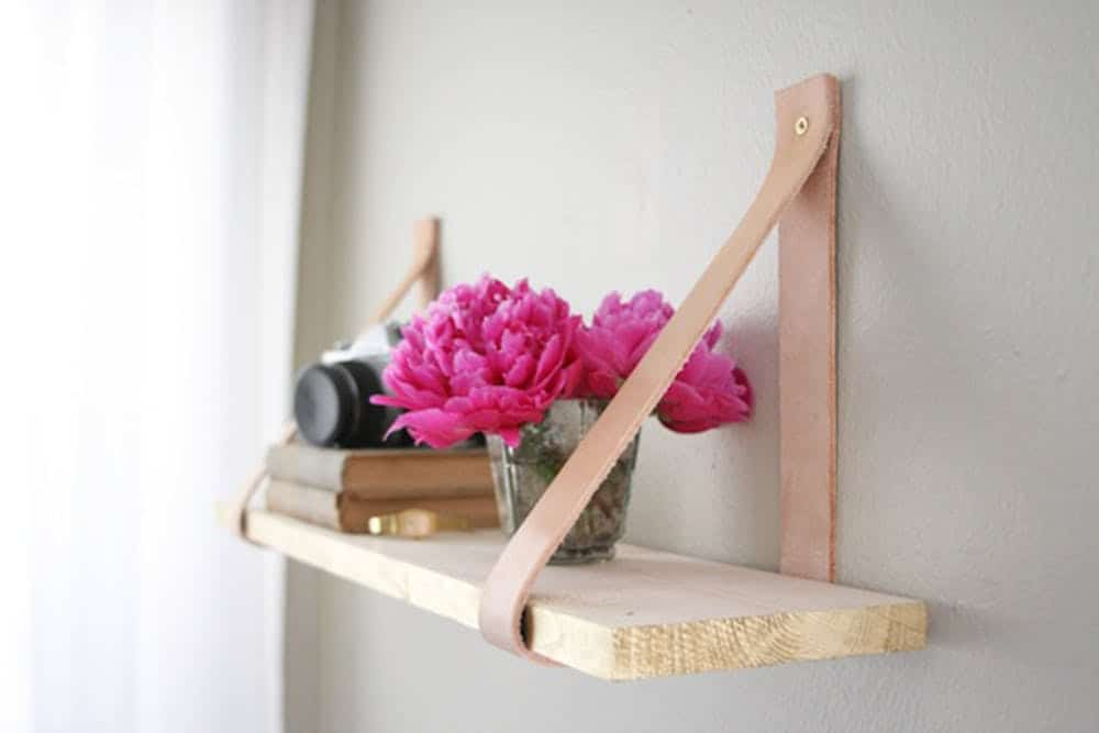 Diy wood and leather shelf