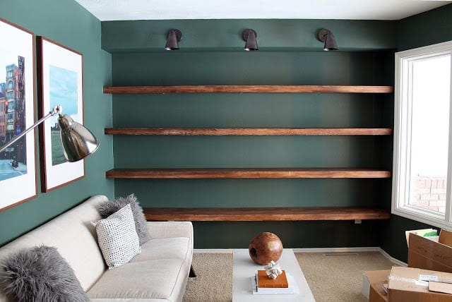 Diy wood shelves wall to wall length