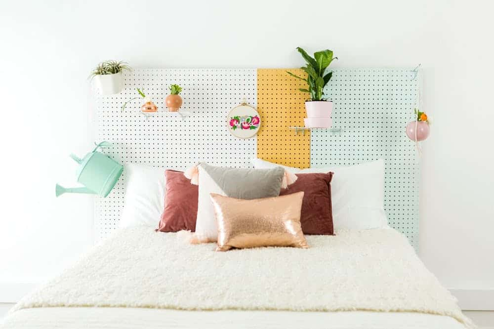 Diy wooden pegboard headboard