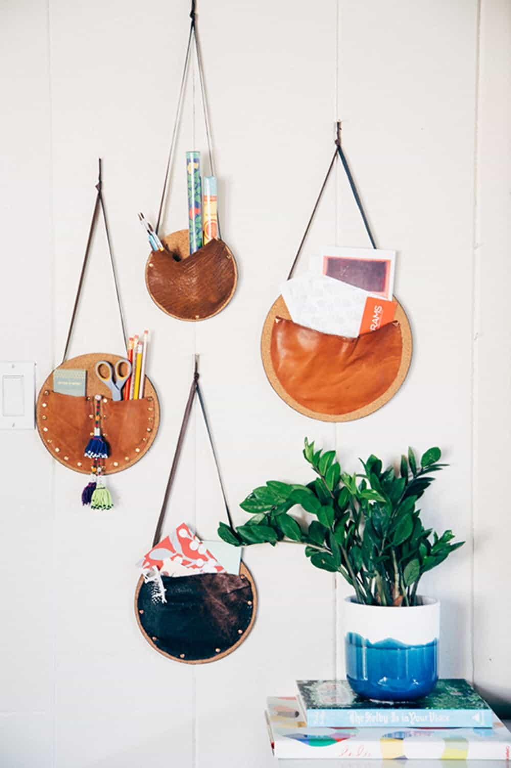 Leather wall pouches organization