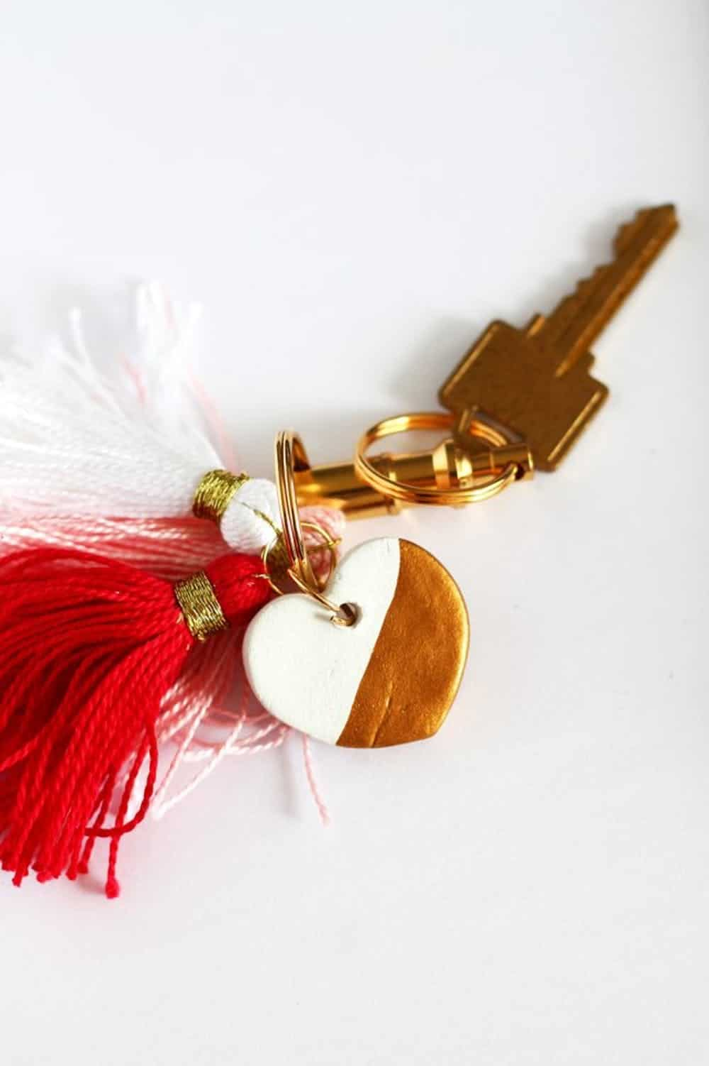 Paint dipped clay heart key chain