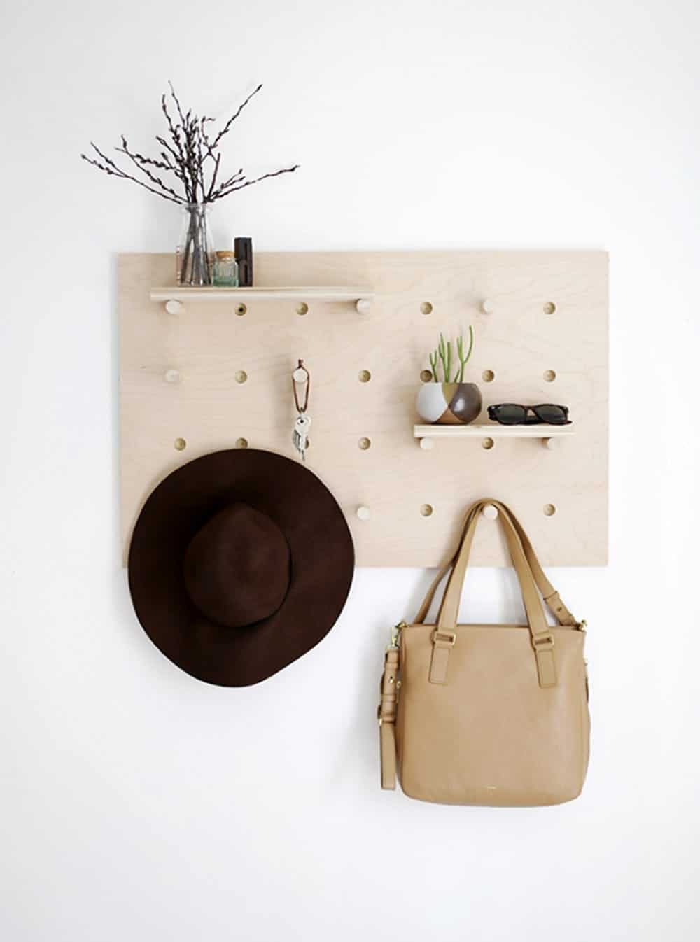 Pegboard entryway organization