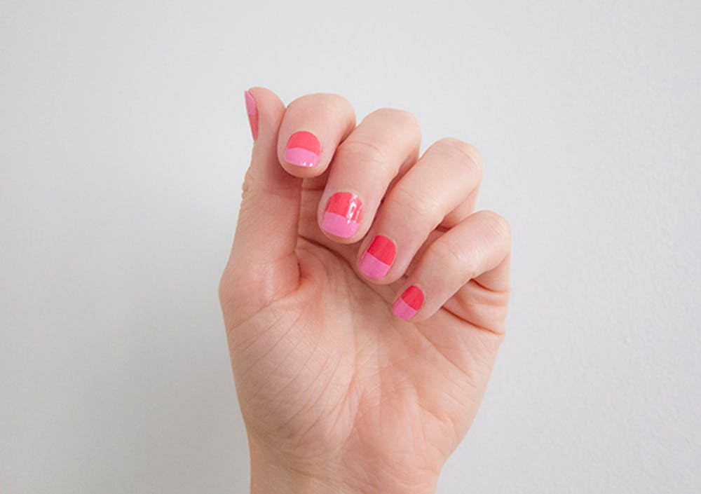 Pink and red color block nails