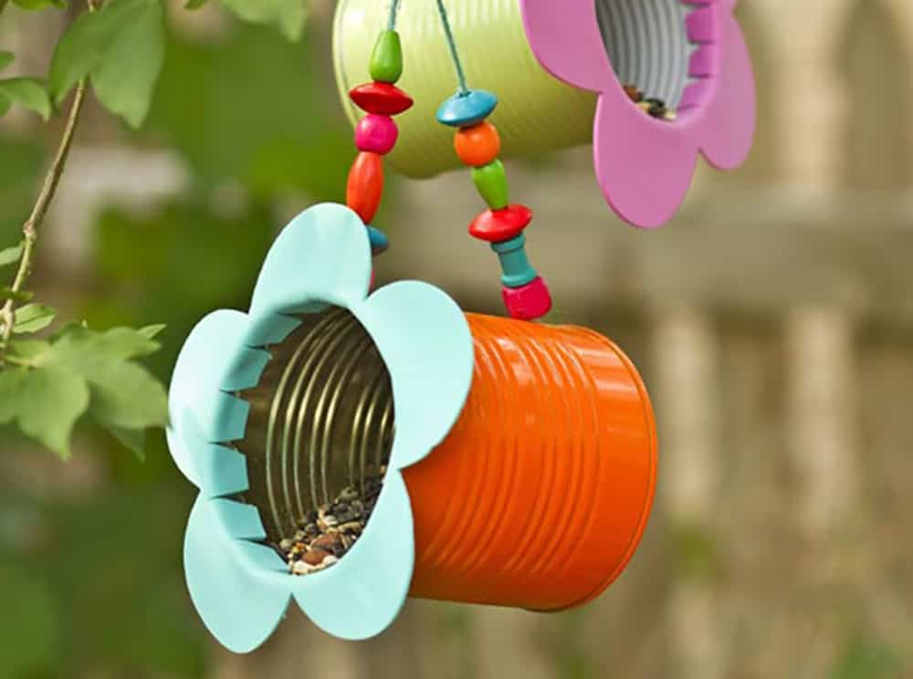 Upcycled tin can bird feeders diy