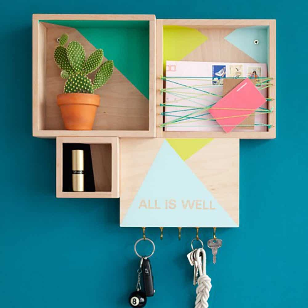 Wood box wall organizer