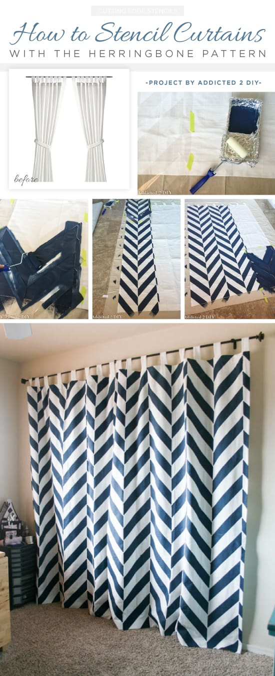Bold stencilled herringbone curtains