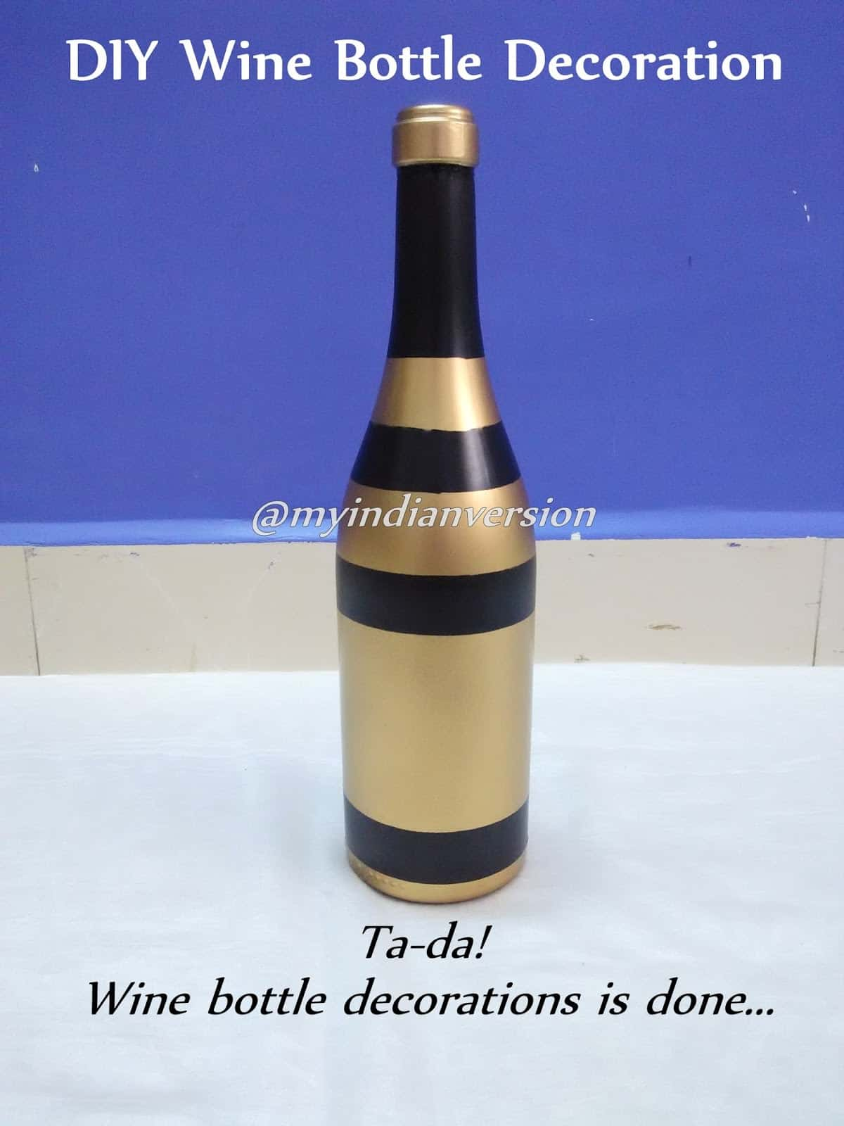 Chunky stripes painted wine bottle