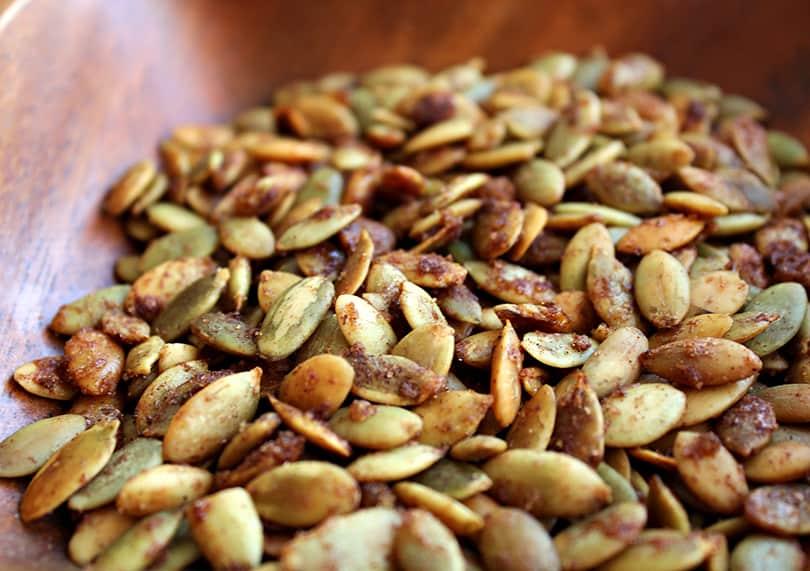 Cinnamon coconut roasted pumpkin seeds