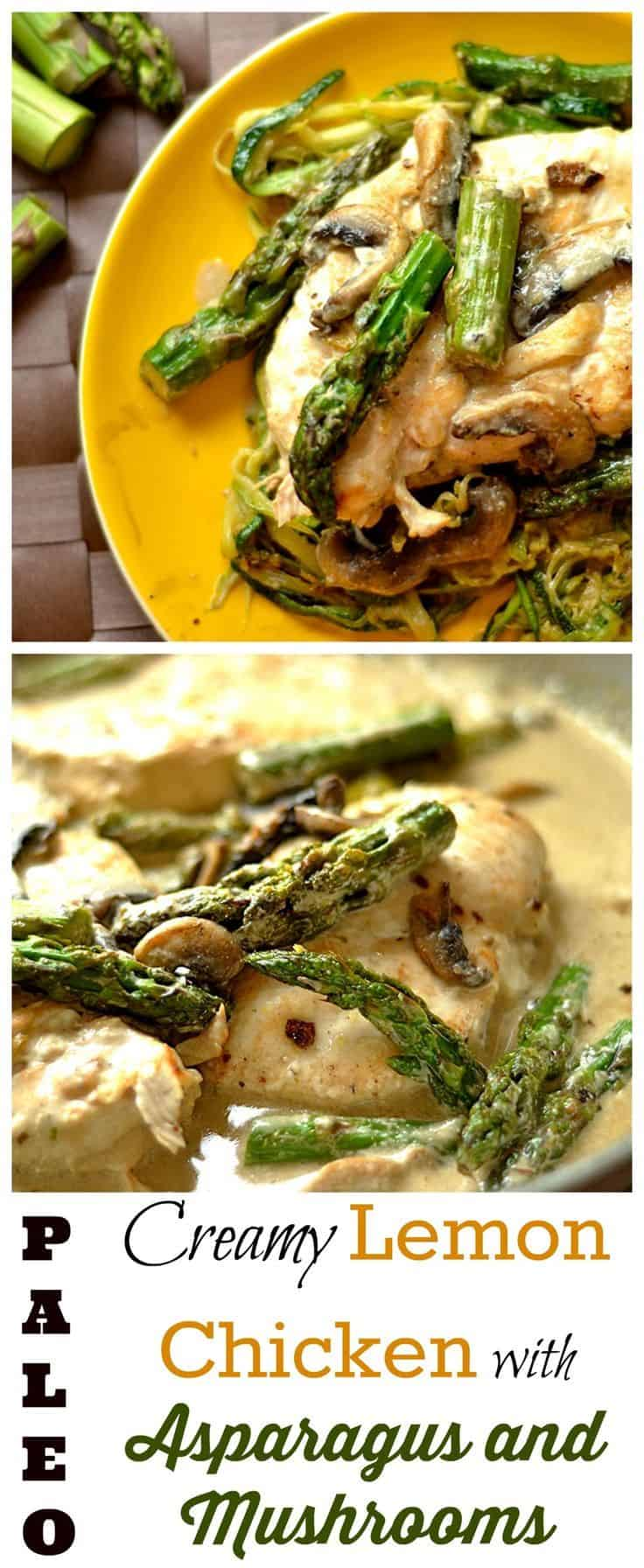 Creamy lemon chicken with mushrooms and asparagus