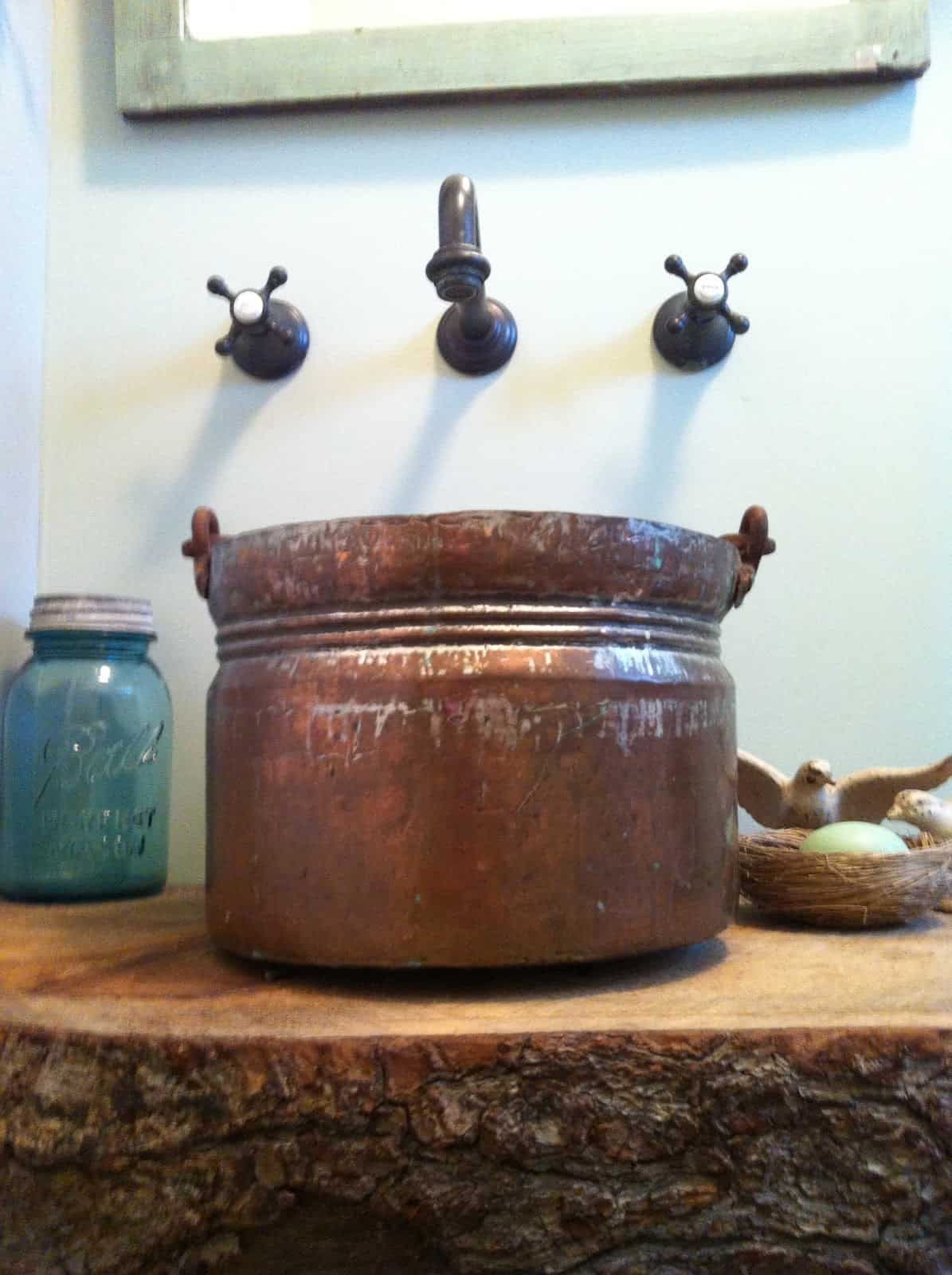 Diy copper bucket vessel sink