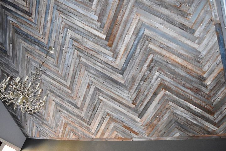 Diy herringbone reclaimed wood ceiling