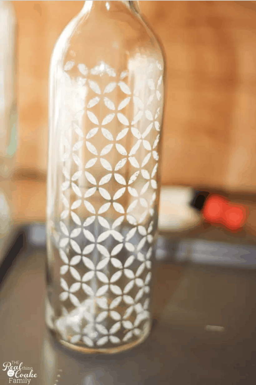 Diy stencilled wine bottles