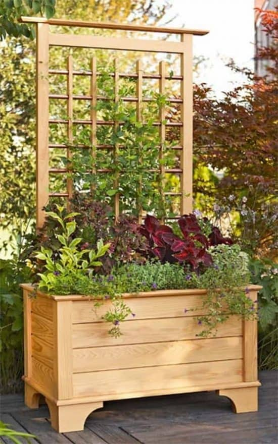 Diy trellis style privacy screen and planter box