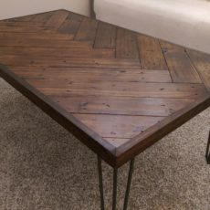 Diy wooden herringbone coffee table