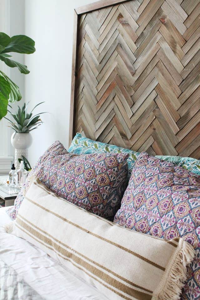 Diy wooden herringbone headboard