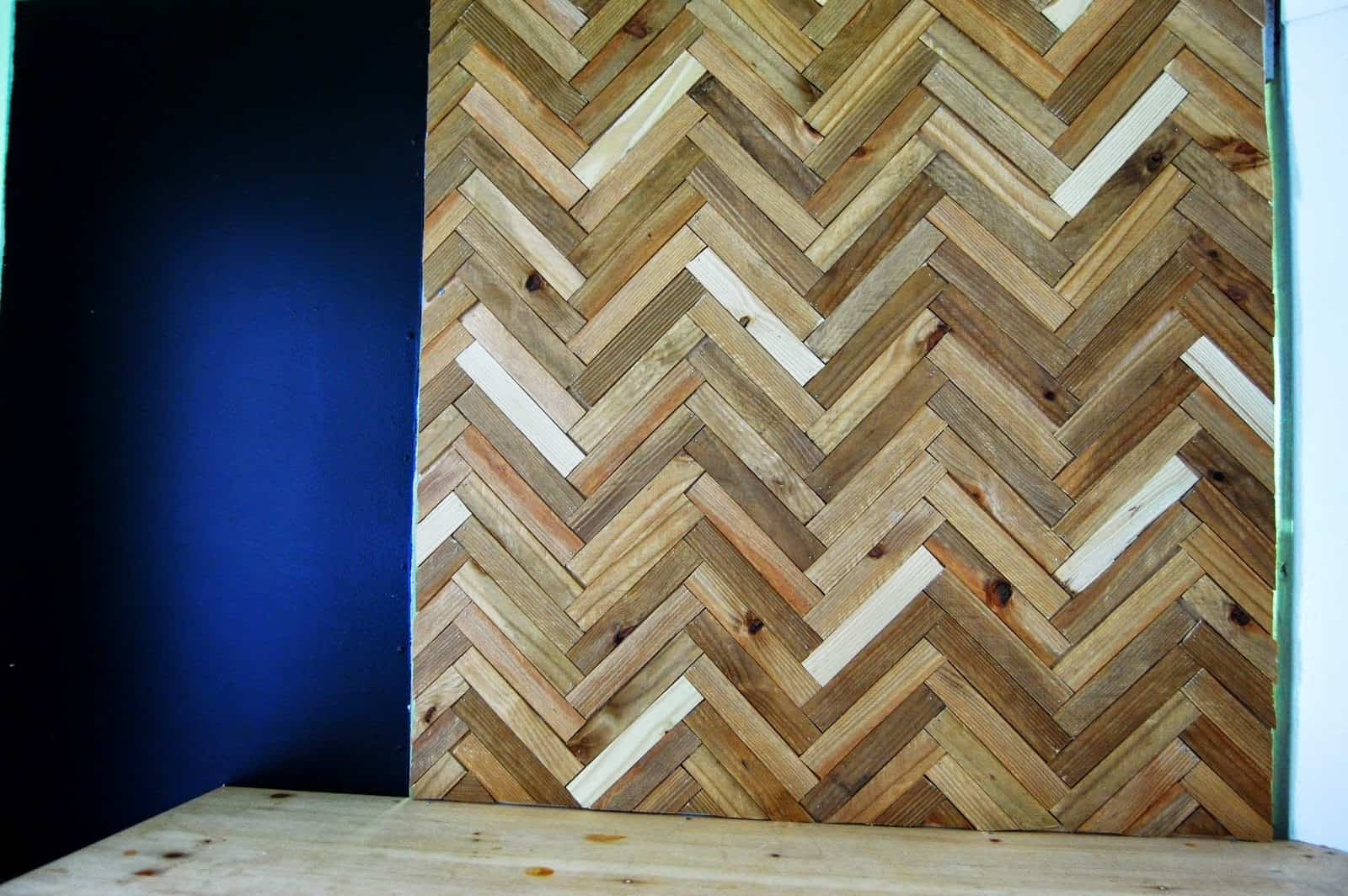Diy wooden herringbone wall art