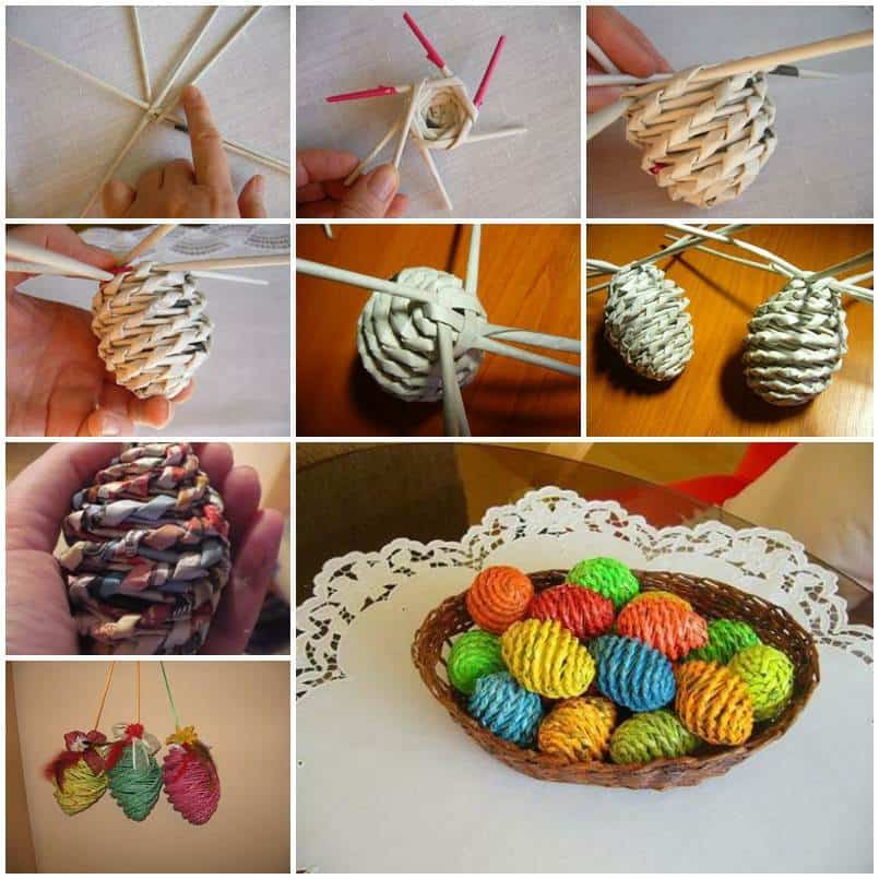 Diy woven basket easter eggs and tray