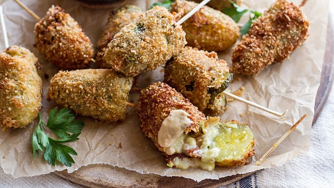 Deep fried pickle poppers