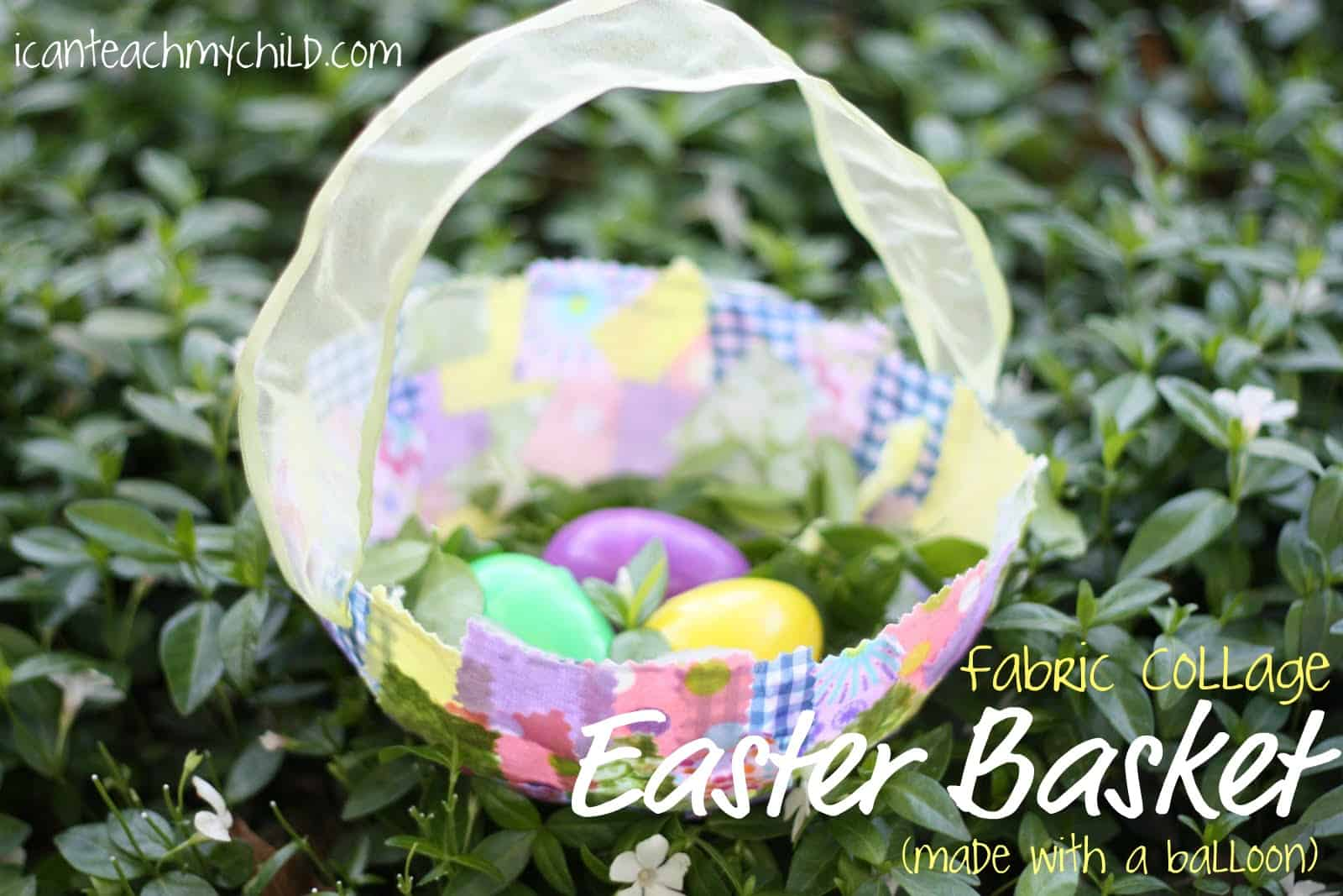 Fabric collage easter basket