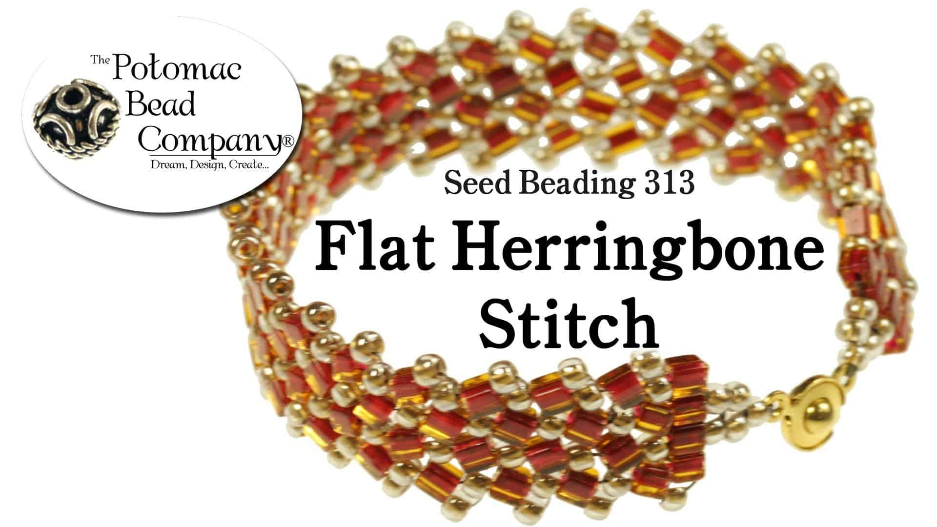 Flat herringbone stitch beaded bracelet