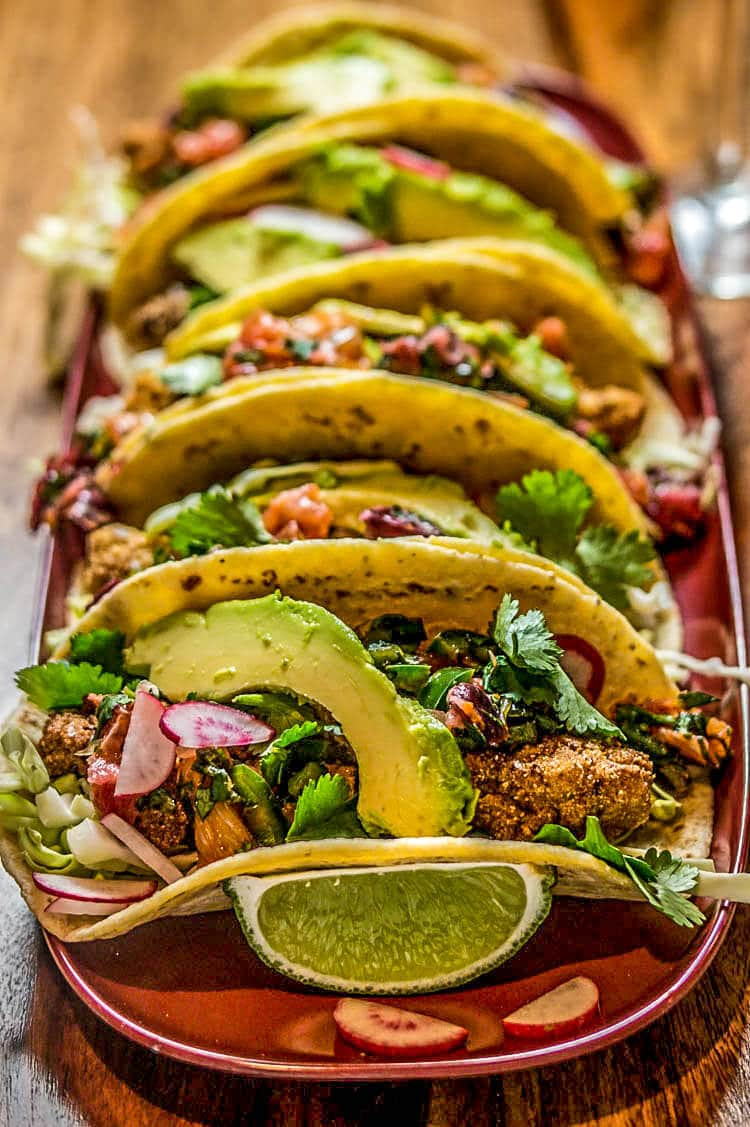 Fried oyster tacos