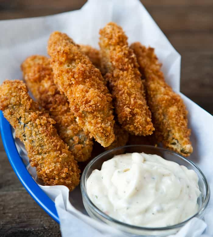 Fried, panko dipped pickle spears