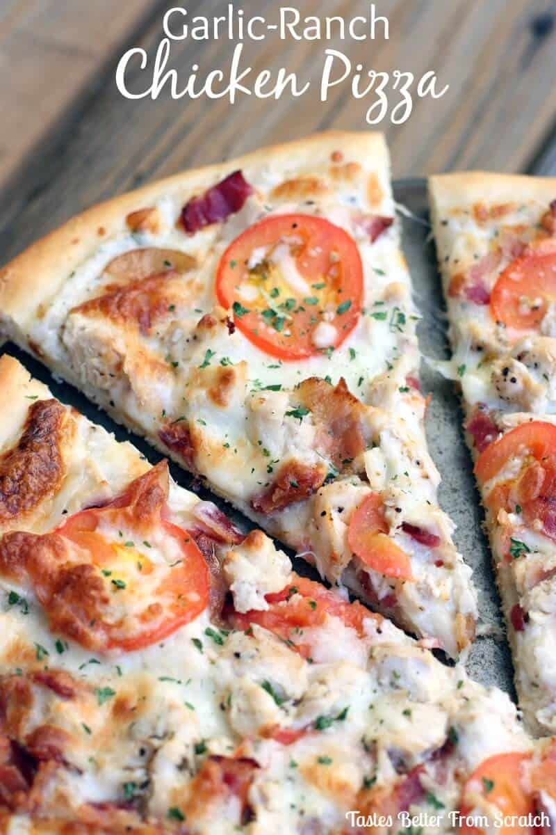 Garlic ranch chicken pizza