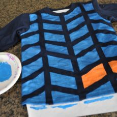 Hand painted colour blocjed herringbone kids shirt