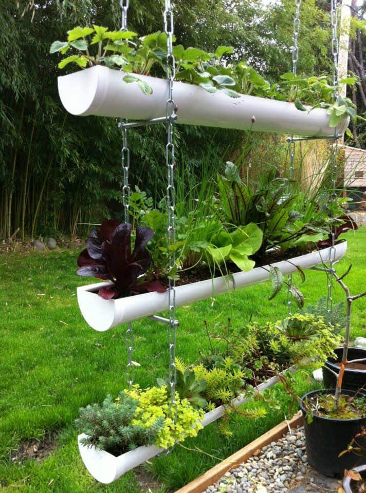 Hanging pvc gutter garden