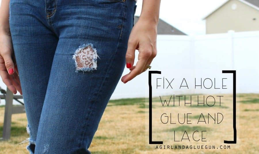 Hot glue and lace denim patch