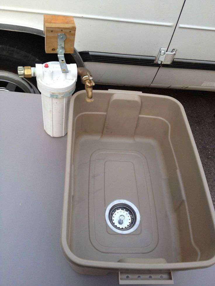 Inexpensive diy camping sink