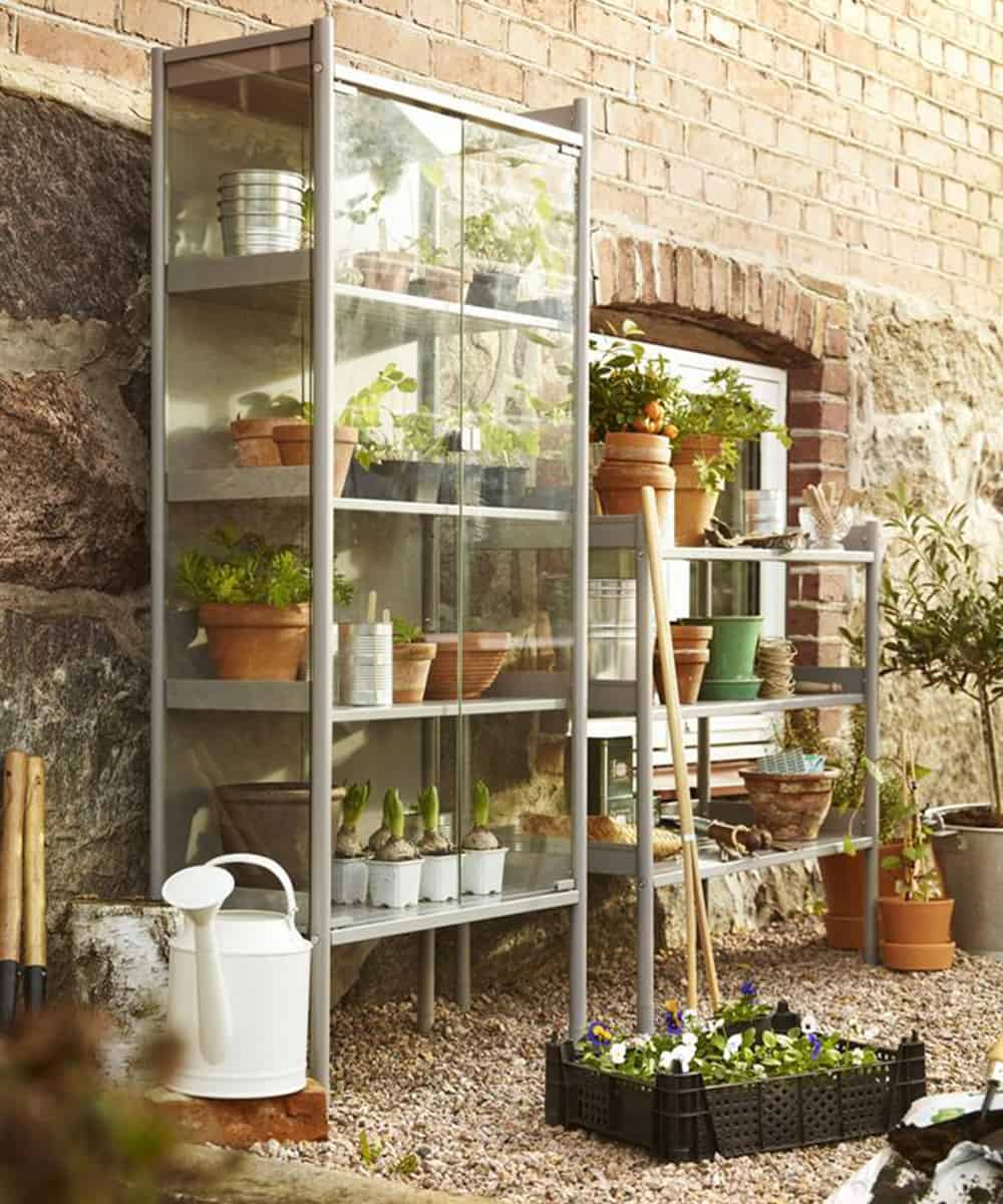 Miniature greenhouse from shelves