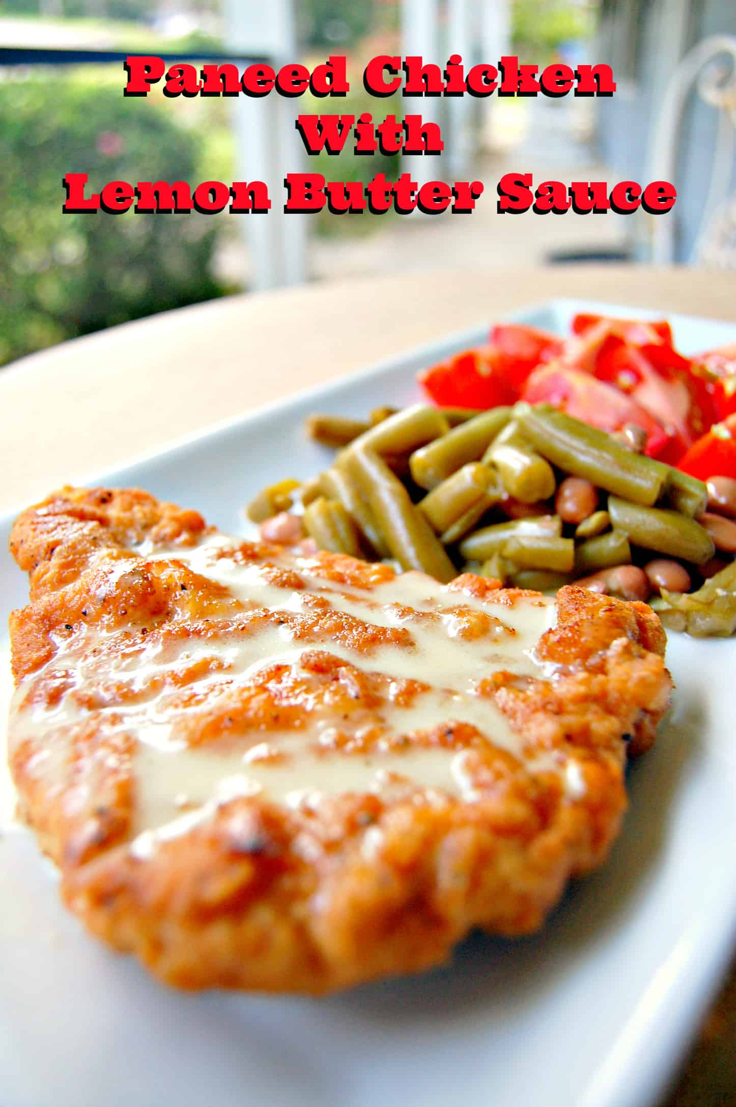 Paneed chicken with lemon butter sauce